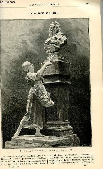 LE MAGASIN PITTORESQUE - Livraison n°12 - Le monument de Le Sage.