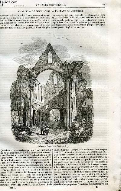 Le magasin universel - tome premier - Livraison n°10 - L'abbaye de Jumièges.
