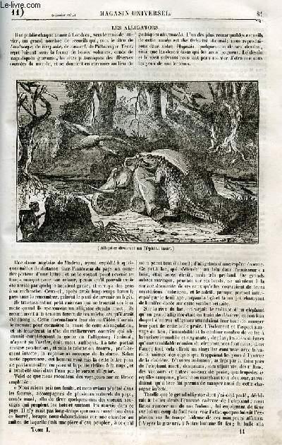 Le magasin universel - tome premier - Livraison n°11 - Les alligators.