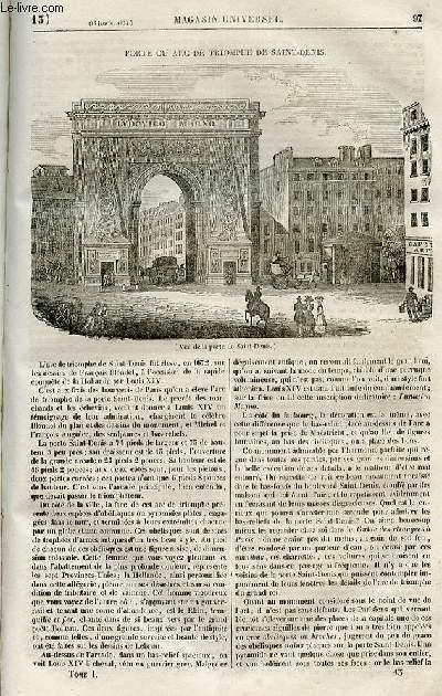 Le magasin universel - tome premier - Livraison n°13 - Porte ou arc de triomphe de Saint Denis.