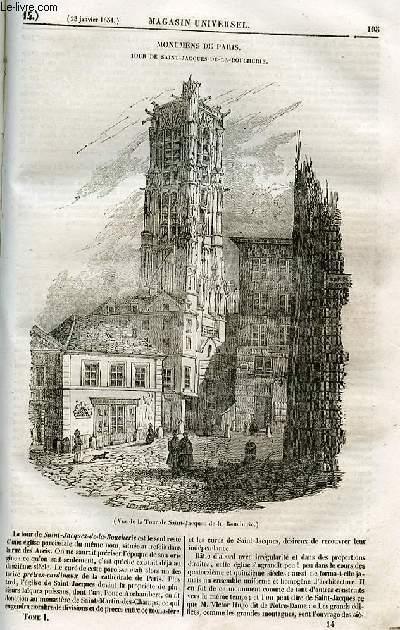 Le magasin universel - tome premier - Livraison n°14 - Monuments de Paris - Tour de SAint jacques de la Boucherie.