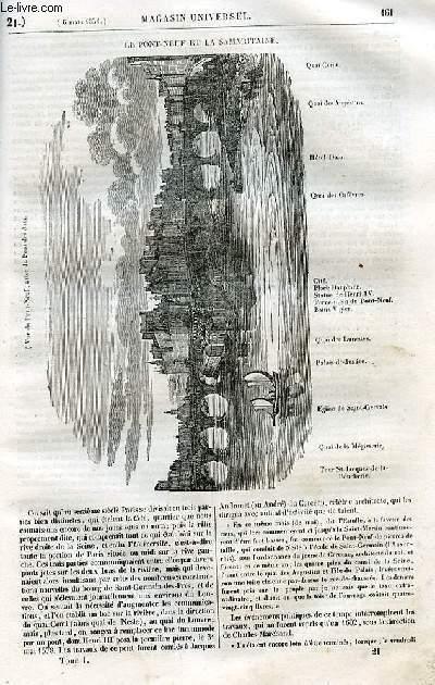 Le magasin universel - tome premier - Livraison n°21 - Le pont-neuf et la Samaritaine.
