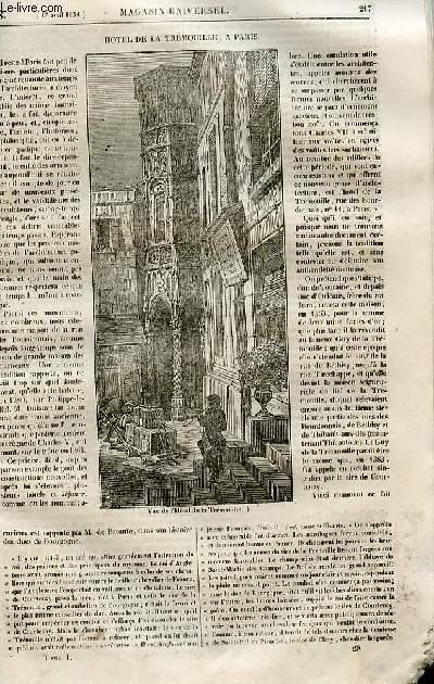 Le magasin universel - tome premier - Livraison n°28 - Hôtel de la Trémouille à Paris.