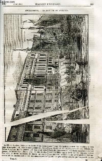 Le magasin universel - tome premier - Livraison n°32 - Angleterre - la douane de Londres.