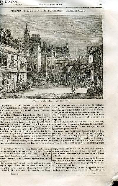 Le magasin universel - tome premier - Livraison n°36 - Monuments de Paris - Le palais des thermes - l'hôtel de Cluny.