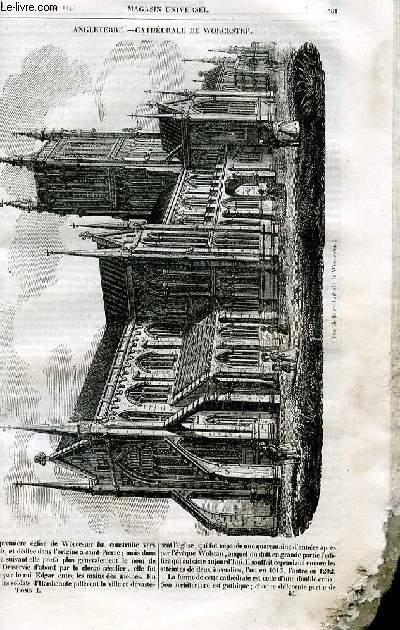Le magasin universel - tome premier - Livraison n°46 - Angleterre - Cathédrâle de Worcester.