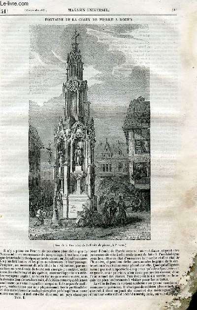 Le magasin universel - tome premier - Livraison n°51 - Fontaine de la Croix de Pierre à Rouen.