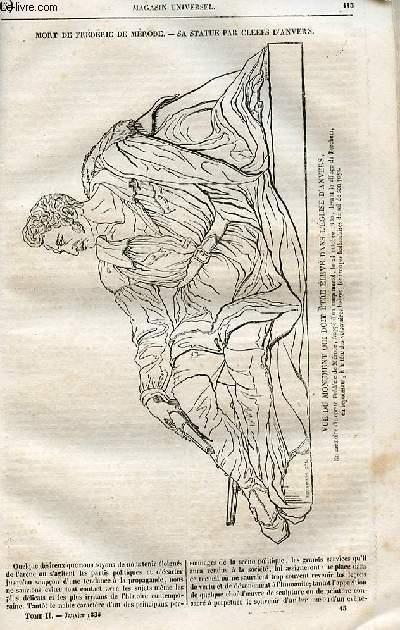 Le magasin universel - tome second - Livraison n°15 - Mort de Frédéric de Mérode - sa statue par Cleefs d'Anvers.