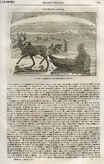 Le magasin universel - tome second - Livraison n°20 - Moeurs des Lapons.