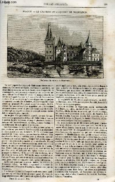 Le magasin universel - tome second - Livraison n°30 - France - Le château et l'aqueduc de Maintenon.