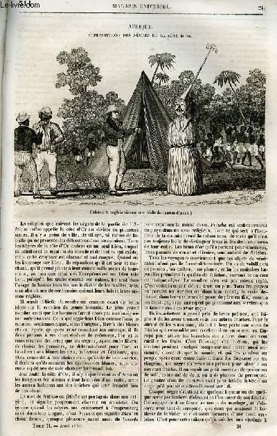 Le magasin universel - tome second - Livraison n°31 - Afrique - Superstition des nègres de la Cote d'Or.