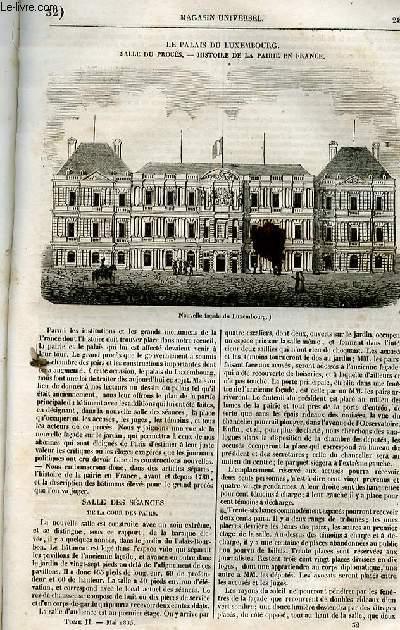 Le magasin universel - tome second - Livraison n°32 - Le palais du Luxembourg - salle du procès - histoire de la Pairie en France.