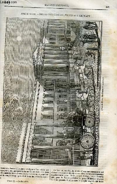Le magasin universel - tome second - Livraison n°44 - Angleterre - Postes aux lettres, postes aux chevaux.