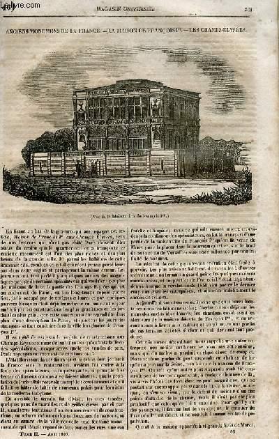 Le magasin universel - tome second - Livraison n°46 - Anciens monuments de France - La maison de François Premier - les Champs Elysées.