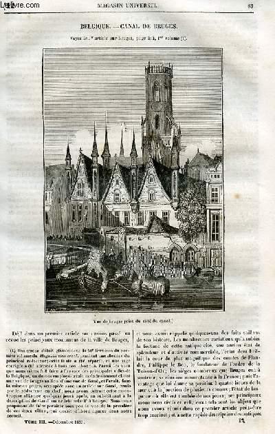 Le magasin universel - tome troisième - Livraison n°12 - Belgique - Canal de Bruges .