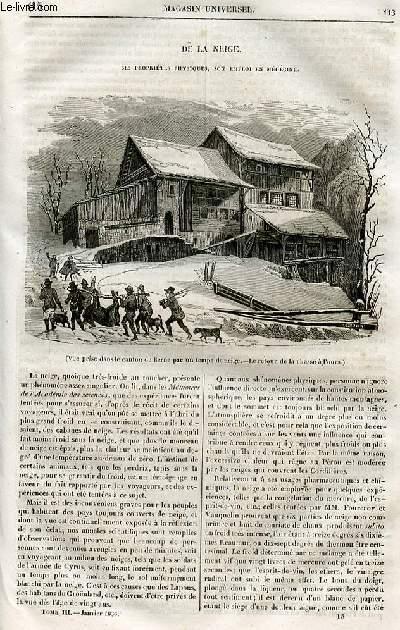 Le magasin universel - tome troisième - Livraison n°15 - De la neige - ses propriétés physiques, son emploi en médecine.