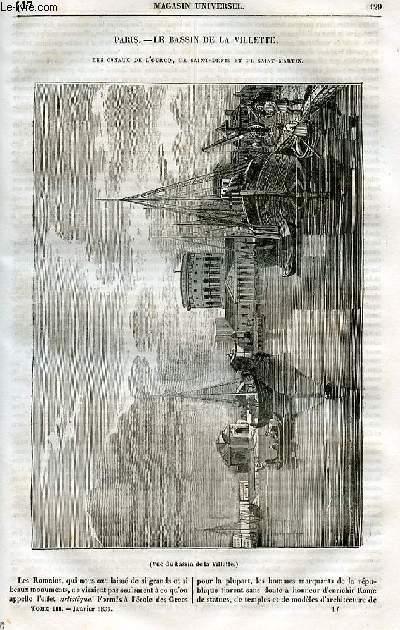 Le magasin universel - tome troisième - Livraison n°17 - Paris - le Bassin de la Villette - Les canaux de l'Ourcq, de Saint Denis et de Saint Martin.
