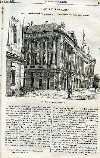 Le magasin universel - tome troisième - Livraison n°31 - Monuments de PAris - L'ancien garde-meuble de la Couronne, auujourd'hui le ministère de la marine.