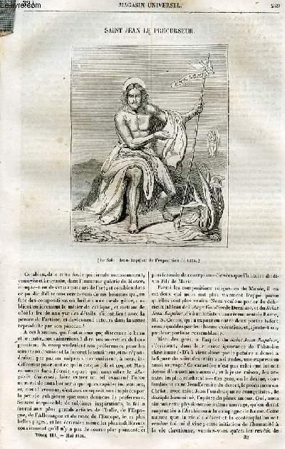 Le magasin universel - tome troisième - Livraison n°32 - Saint Jean le précurseur.