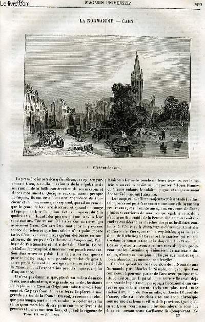 Le magasin universel - tome troisième - Livraison n°37 - La Normandie - Caen.