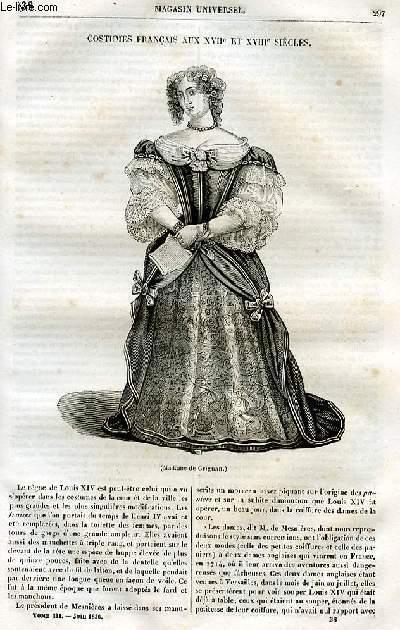 Le magasin universel - tome troisième - Livraison n°38 - Costumes français au XVII et XVIIIème siècles.