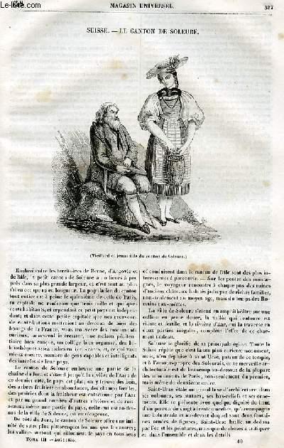 Le magasin universel - tome troisième - Livraison n°48 - Suisse - Le canton de Soleure.