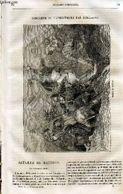 Le magasin universel - tome quatrième - Livraison n°05 - Conquête de l'Angleterre par Guillaume - Bataille de hastings(14 octobre 1066)