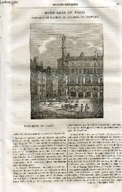 Le magasin universel - tome quatrième - Livraison n°07 - Monuments de Paris - Fontaine du palmier ou colonne du châtelet.
