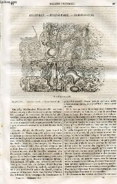 Le magasin universel - tome quatrième - Livraison n°12 - Chantilly - Morfontaine - Ermenonville.