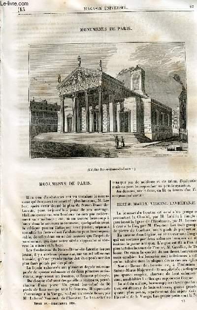 Le magasin universel - tome quatrième - Livraison n°13 - Monuments de PAris.