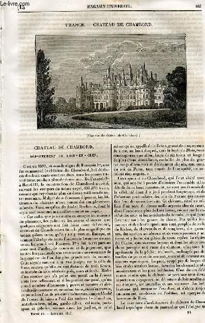 Le magasin universel - tome quatrième - Livraison n°14 - France - Château de Chambord.