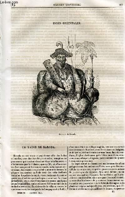 Le magasin universel - tome quatrième - Livraison n°15 - Indes orientales.