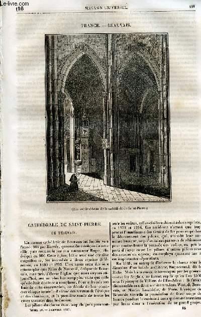 Le magasin universel - tome quatrième - Livraison n°16 - France - Beauvais par Ernest Breton - Cathédrâle de Saint Pierre de Beauvais.