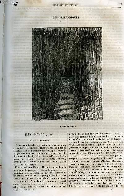 Le magasin universel - tome quatrième - Livraison n°20 - Iles britanniques - Grotte de Staffa.