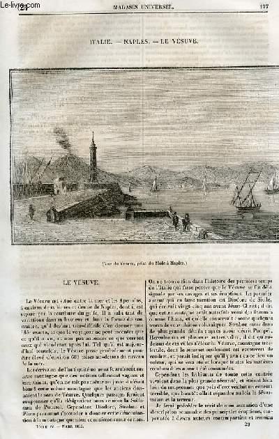 Le magasin universel - tome quatrième - Livraison n°23 - Italie - Naples - le Vésuve par Breton.