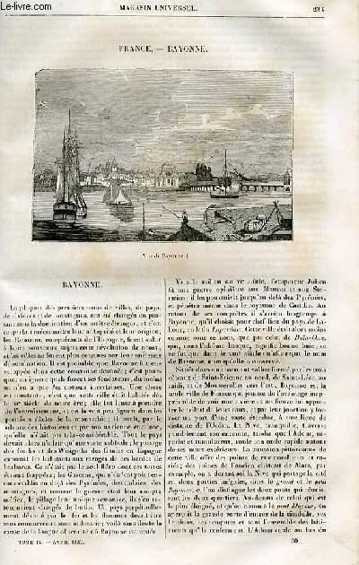 Le magasin universel - tome quatrième - Livraison n°30 - France - Bayonne.