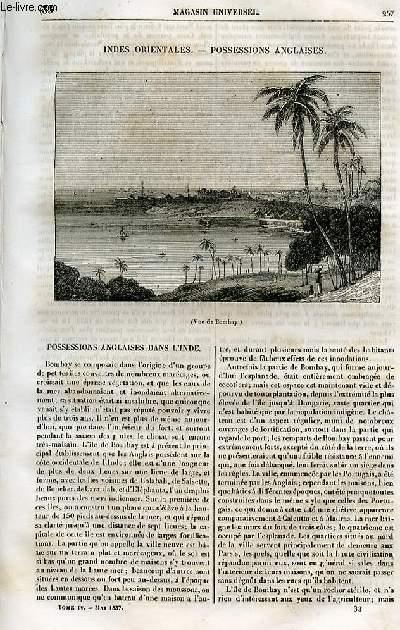 Le magasin universel - tome quatrième - Livraison n°33 - Indes orientales - Possessions anglaises.