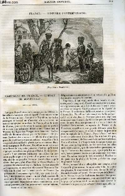 Le magasin universel - tome quatrième - Livraison n°37 - France - Histoire contemporaine - Campagne de France - combat du Montereau (février 1814).
