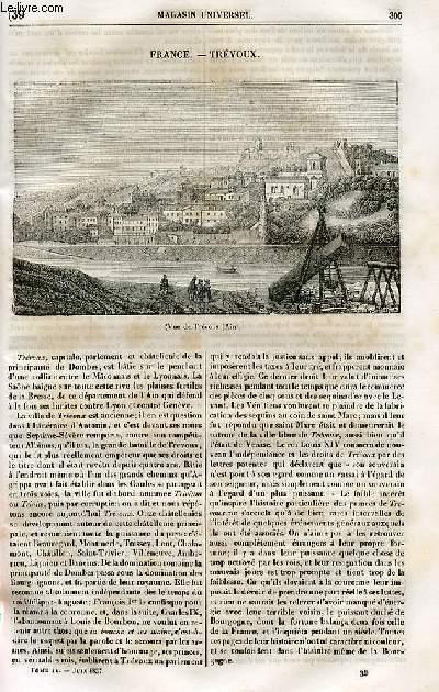 Le magasin universel - tome quatrième - Livraison n°39 - Frnace - Trévoux.