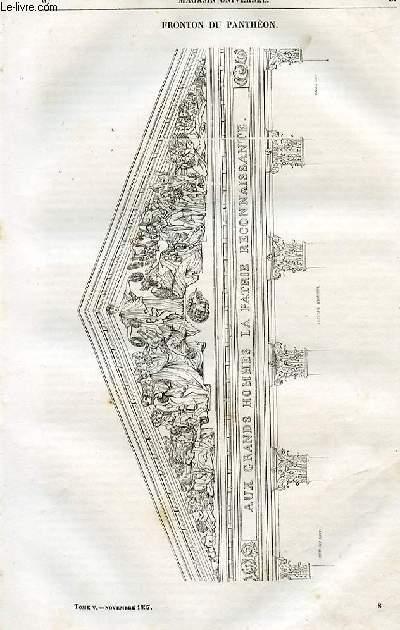 Le magasin universel - tome cinquième - Livraison n°08 - Fronton du panthéon.