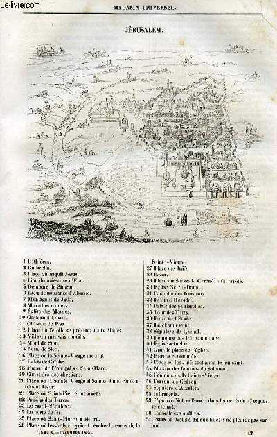 Le magasin universel - tome cinquième - Livraison n°13 - Jérusalem à l'époque des croisades.