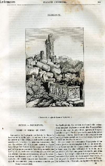 Le magasin universel - tome cinquième - Livraison n°26 - Agrigente.