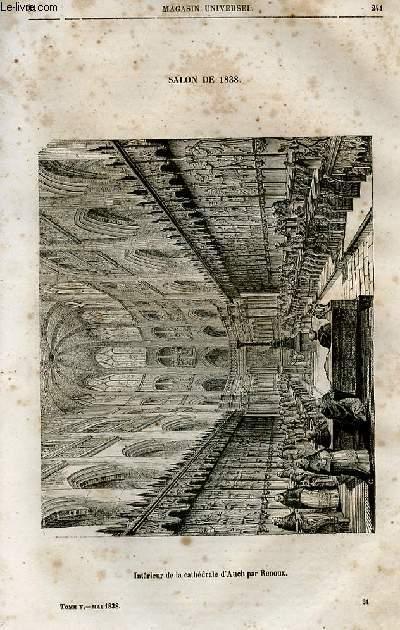 Le magasin universel - tome cinquième - Livraison n°31 - Salon de 1838 - Intérieur de la cathédrâle d' Auch par Renoux.