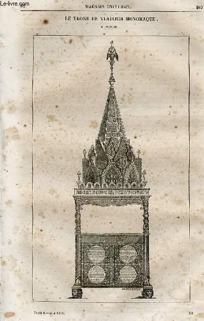 Le magasin universel - tome cinquième - Livraison n°32 - Russie - Moscou,suite - Le trône de Vladimir Monomaque à Moscou.