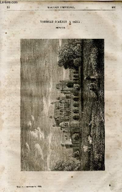 Le magasin universel - tome cinquième - Livraison n°51 - Tombeau d'Akbar à Agra - bengale.