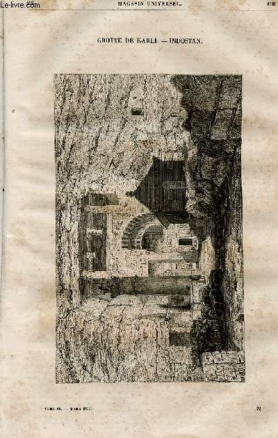 Le magasin universel - tome sixième - Livraison n°22 - Grotte de Karli, de Kenneri - Indostan.