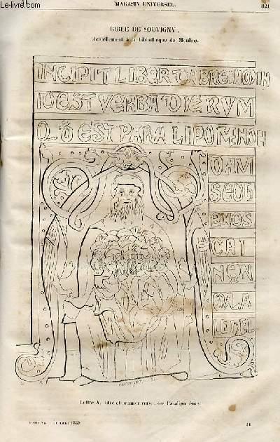 Le magasin universel - tome sixième - Livraison n°41 - Bible de Moulins (de Souvigny) actuellement à la bibliothèque de Moulins.