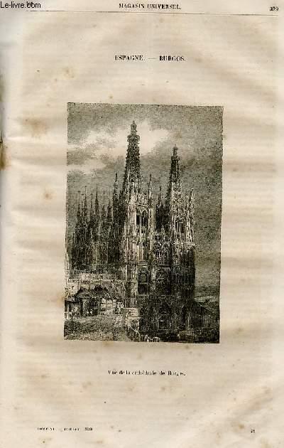 Le magasin universel - tome sixième - Livraison n°42 - Espagne -La cathédrâle de Burgos .