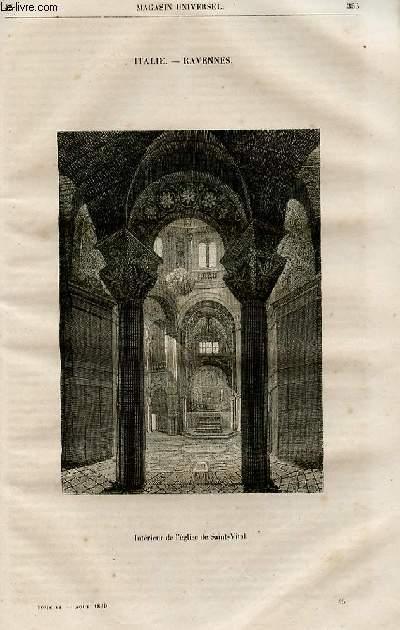 Le magasin universel - tome sixième - Livraison n°45 - Italie - Ravennes - Saint Vital de Ravennes.