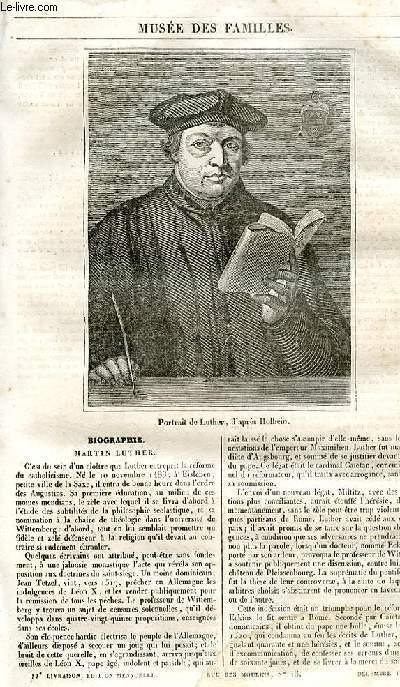 Le musée des familles - lecture du soir - 1ère série - livraison n°11 - Biographie - Martin Luther.